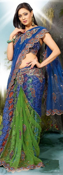 Light Green and Blue Net Lehenga Style Saree with Blouse