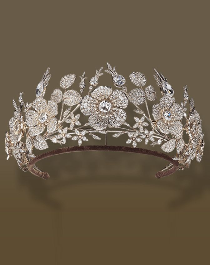 Jean-Baptise Fossin - An antique gold, silver and diamond tiara, circa 1830. Designed with briar rose and jasmine flower motifs. #Fossin #antique