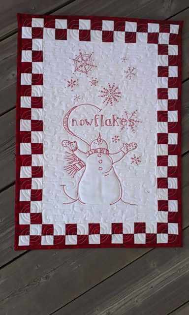 S is for Snowman, Redwork; Snowmen A to Zzzz pattern from Crabapplehill designs