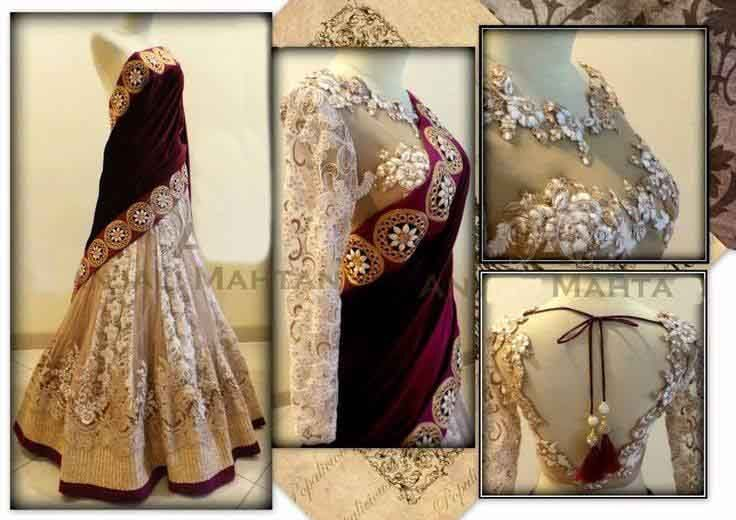Designer cream and velvet pallu lehenga