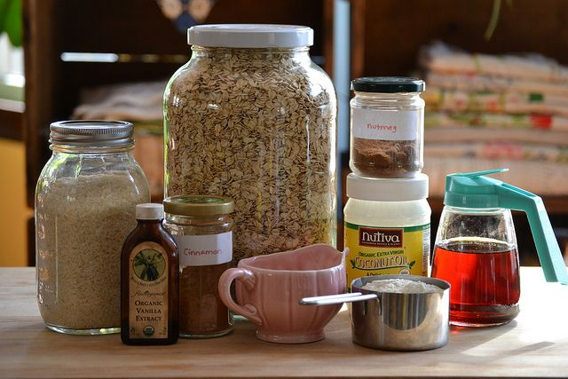 A basic granola recipe that I typically have all of the ingredients for!  It also happens to be vegan and easy.