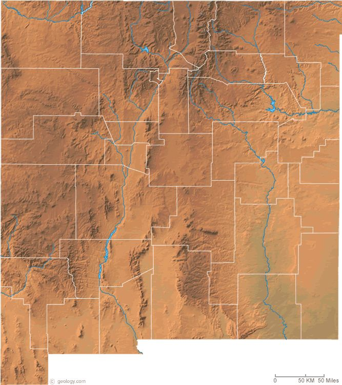 New Mexico physical map