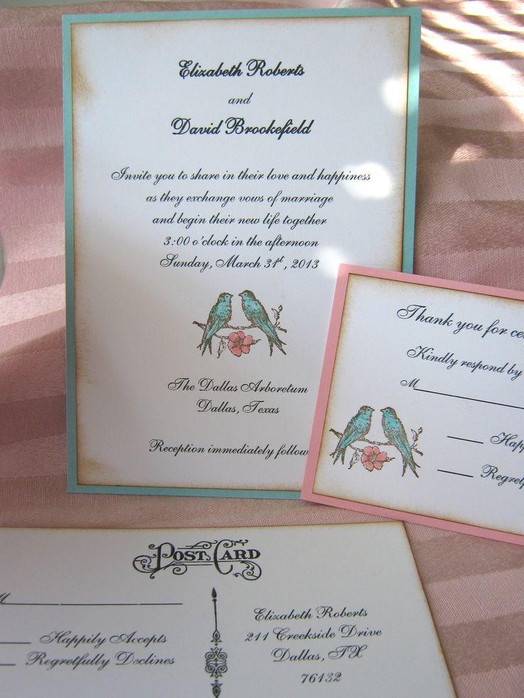 RESERVE FOR AUDREY 25 Love birds Wedding Invitation, Shabby Chic Pink and Aqua, Wedding Invitation, Shower Invitation by CharonelDesigns on Etsy