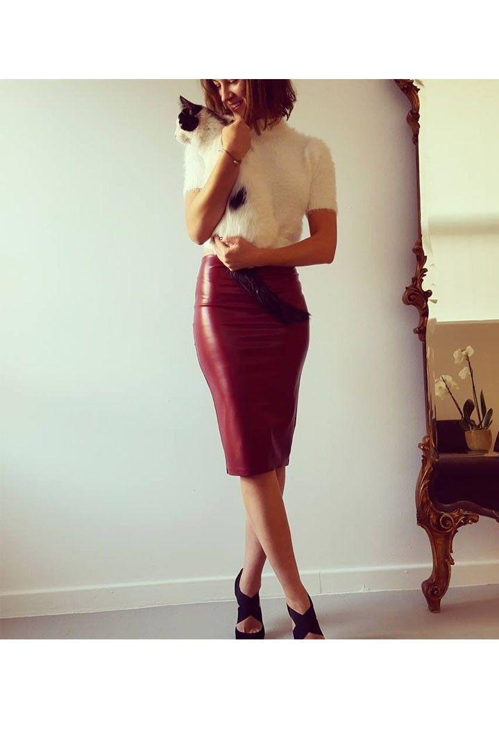 Premium μπορντό δερμάτινη pencil φούστα