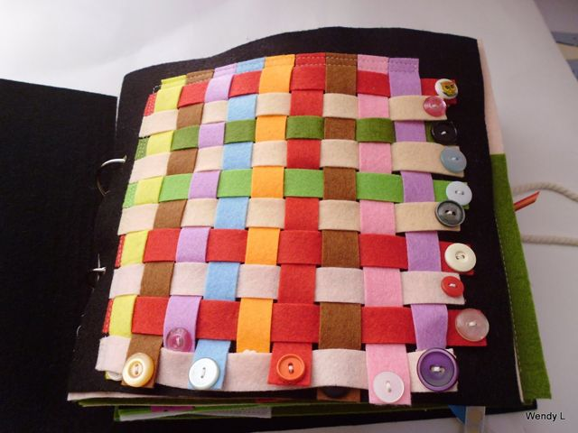 Weaving quietbook page. Like the use of buttons on the end. The Quiet Book Blog