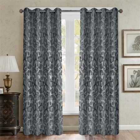 Better Homes and Gardens Baroque Paisley Curtain Panel, multiple colors and sizes, Gray