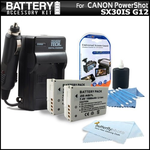 """http://sx30isinfo.com/pinnable-post/2-pack-battery-and-charger-kit-for-the-canon-sx30is-sx30-is-canon-g12-digital-camera-includes-2-extended-replacement-nb-7l-1500-mah-batterries-acdc-rapid-battery-charger-clear-lcd-screen-protec/ Product DescriptionKit Includes:? 1) Vidpro - Ac/Dc Rapid Travel Charger For Nb-7l? 2) Zeikos - Zeikos 3pc Lens Cleaning Kit? 3) Zeikos - Deluxe Universal 5"""" LCD Screen Protectors ? 4) ..."""