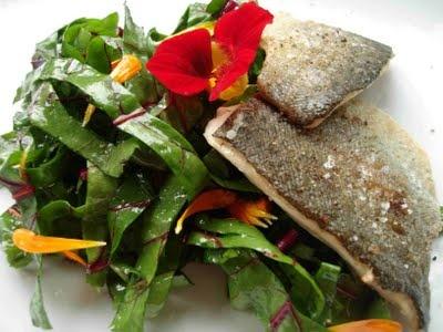 Forelle knusprig auf der Haut gebraten, Rote-Bete-Blüten-Salat