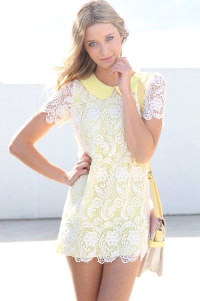 Lace Garden Dress: Yellow Dresses, Gardens Dresses, Peter Pan Collars, Lace Gardens, Gardens Yellow, Gardens Parties, Lemon Yellow, Lace Dresses, Sabo Skirts