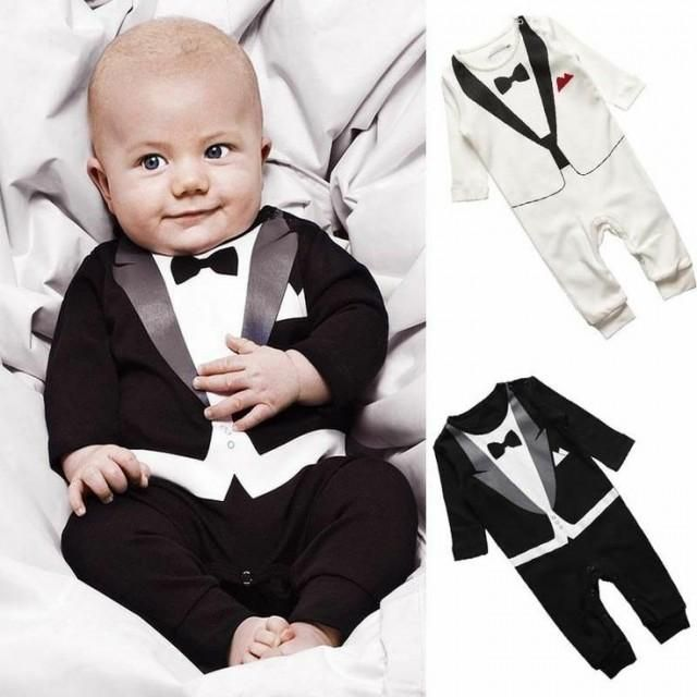 Weddbook ♥ Black tuxedo for ring bearer. Cutest ring bearer outfits ever ! Very Simple But Formal Design One Pieces Boys Baby Wedding Jumpsuit. Long sleeves bow tie modern baby tuxedo. Baby ring bearer wedding  suit clothes. blackandwhite ringbearer tuxedo gift