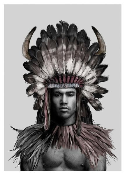 Linn Wold - Headdress 3 Print $159.00 61x91cm (https://norsu.com.au/collections/linn-wold/products/linn-wold-headdress-3-print-various-sizes?variant=32027845699)