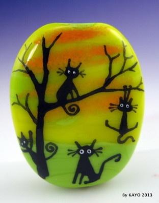 """The Original Tree Huggers"" Bykayo A Handmade Lampwork Art Glass Focal Bead SRA | eBay"