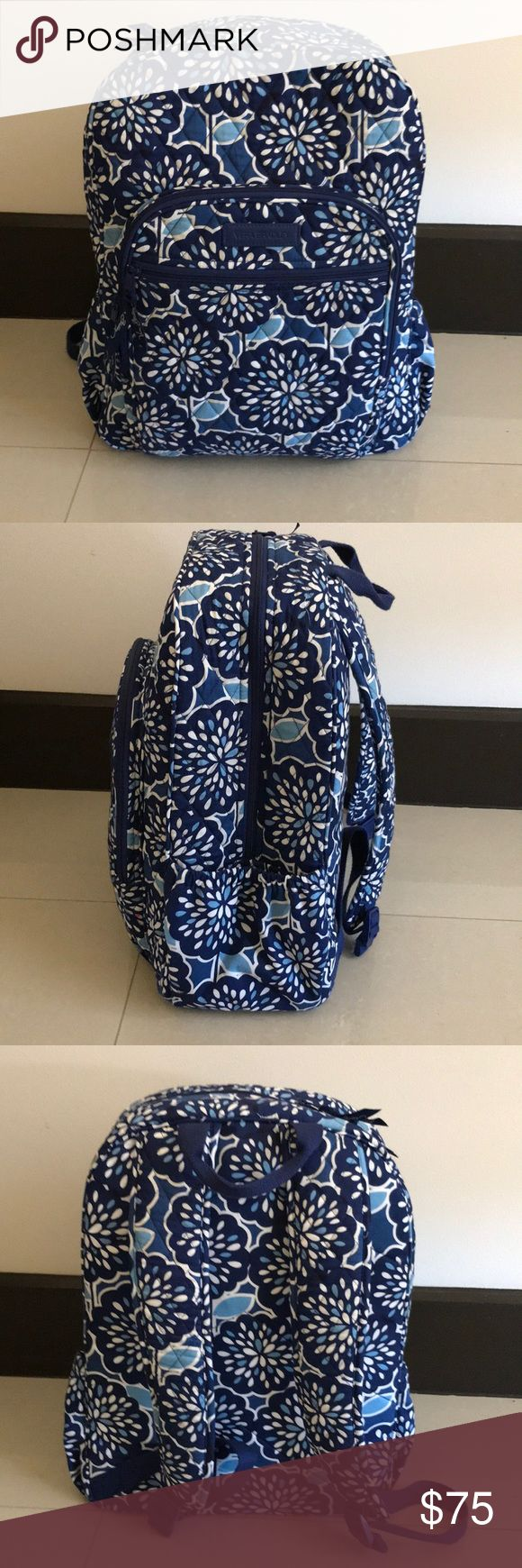 Vera Bradley Campus Backpack Campus Backpack, blue and white print, very good condition, used only for 2 months, can carry a lot of weight, Vera Bradley Bags Backpacks