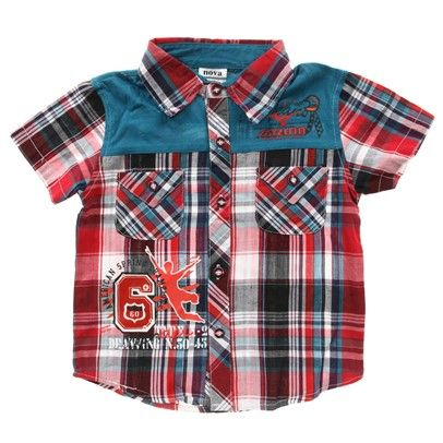 z Boys Red Button Up Checkered Shirt With Pockets And Blue Shoulders-C4062Nrg $15.00 on Ozsale.com.au