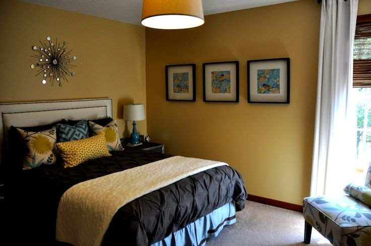 Jul: bedroom  yellow walls, pintuck duvet, turquoise blue & yellow pillows, slipper chair, ...