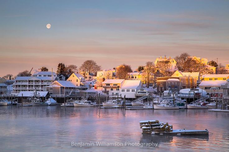 Sunrise/Moonset over Boothbay Harbor -  by Benjamin M. Williamson Photography