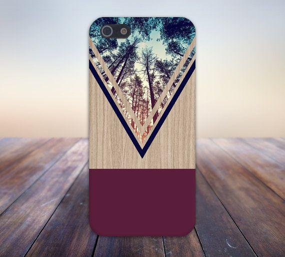 Violet Forest Navy Chevron Wood Nature Case iPhone 6 por CaseEscape