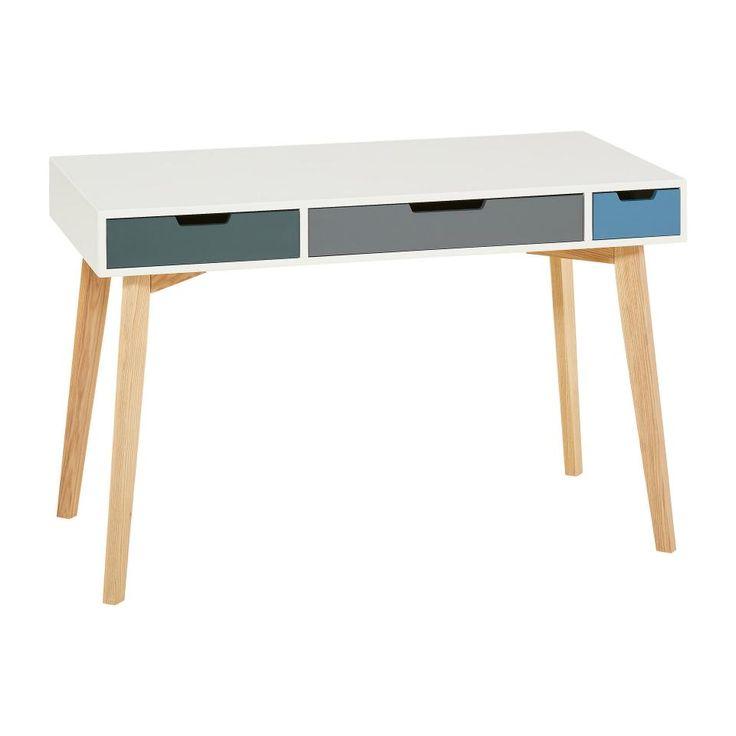 Pfiffiger Schreibtisch (weiß) im trendigen Skandi-Stil mit 3 Schubladen - Dänisches Bettenlager