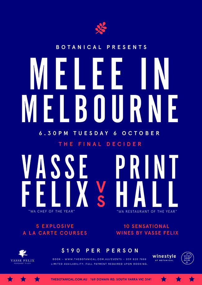 Two of western Australia's most acclaimed culinary heavy weights are coming to Melbourne to stage the final decider in three bout dinner series battle. The menus are expected to be under lock and key until the first bell is rung but both chef's have hinted that their plated items will be influenced by the best Western Australian seasonal produce mixed in with the exciting produce of Victoria.