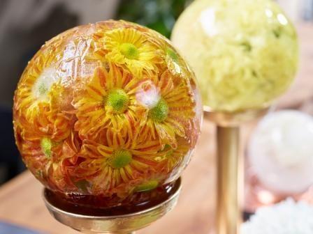 Frozen Shapes : Festliche winterliche Tisch-Dekoration mit Eiskugeln aus gefrorenen Blüten: sehr edel, sehr dekorativ, sehr festlich