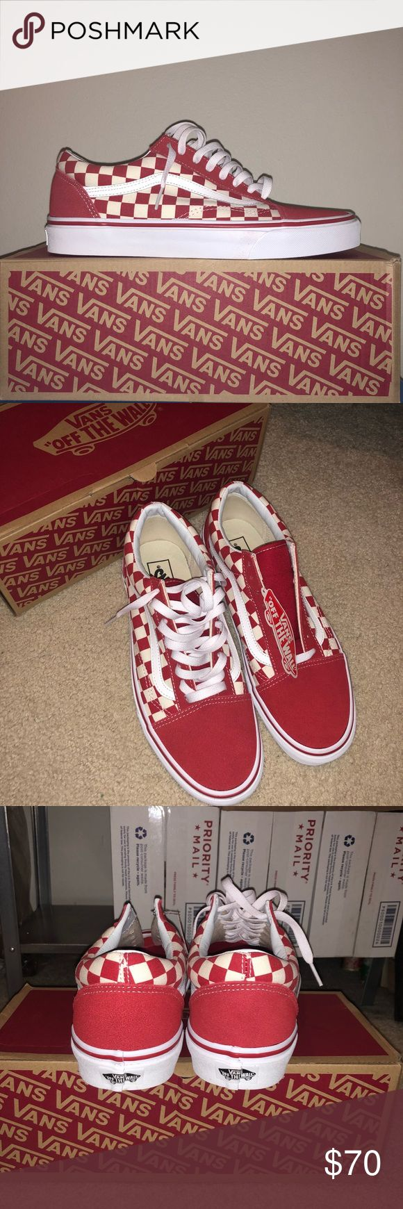 Vans Red Checkered Worn once, no flaws. Selling because too small for me. Will clean before shipping. I ship same day with two day fast shipping. Price is firm because the app takes 20 percent. Vans Shoes Sneakers