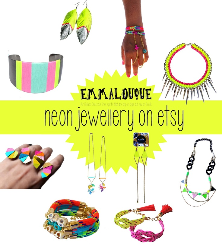 emmalouque: Budget Neon Accessories Love. neon jewellery on etsy