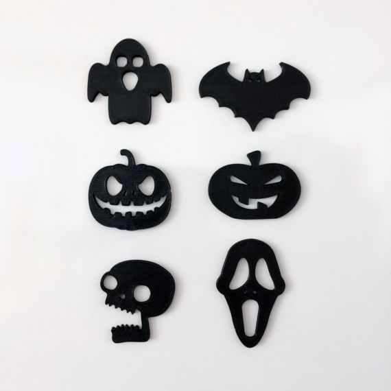 3d printing Halloween Magnets Cool, original halloween-themed magnets. The set contains 6 cute designs. The magnet itself is embedded into the plastic, so it would not scratch or damage your photos or fridge!