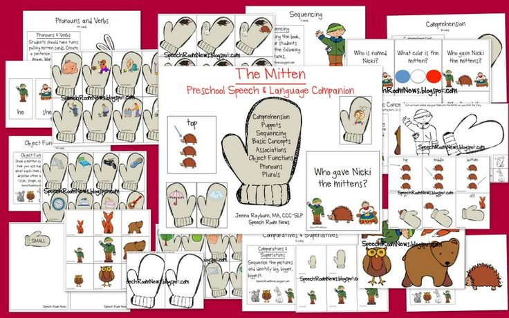 Speech Room News: The Mitten: Preschool Unit-fun winter unit works on various skills. Pinned by SOS Inc. Resources.  Follow all our boards at http://pinterest.com/sostherapy  for therapy resources.