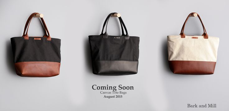 Leather and canvas tote bags by Bark and Mill.
