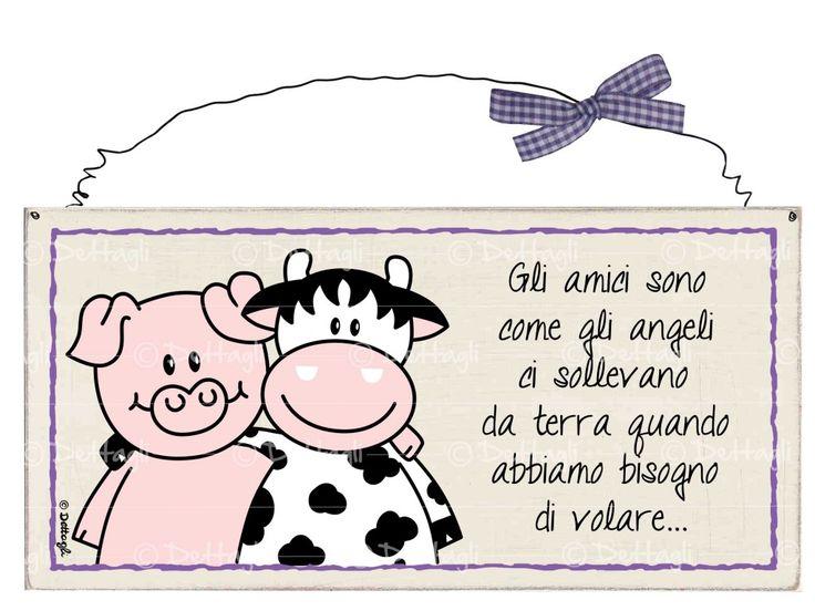 targhetta mucca e maiale