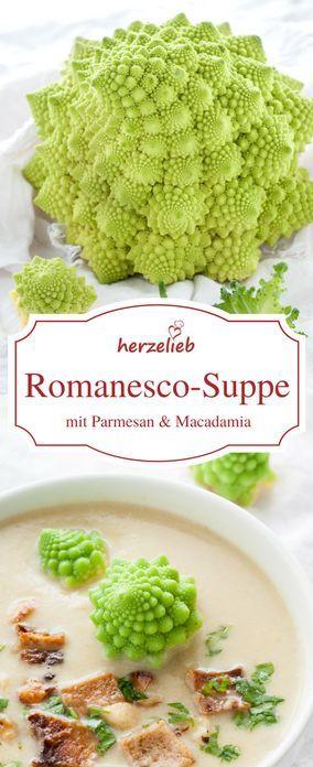 Romanesco-Suppe mit Parmesam und Macadamia - leicht zu kochen und unglaublich lecker. Suppen Rezepte kann man einfach nicht genug haben!