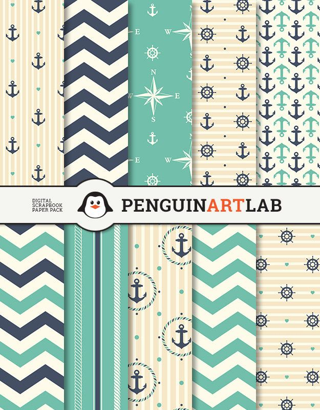Digital Paper Nautical Scrapbook Paper Pack by PenguinArtLab