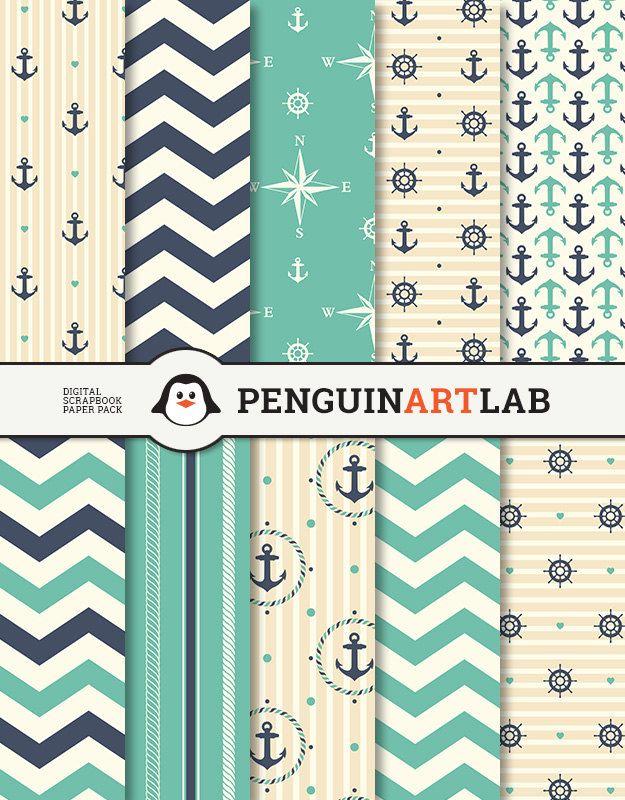 Digital Paper Nautical Scrapbook Paper Pack by PenguinArtLab