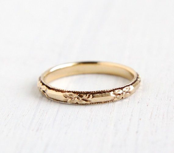 Antique 14k Yellow Gold Wedding Band Ring - Art Deco 1930s Wedding Engagement Stacking Orange Blossom Fine Jewelry / Eternity Flowers