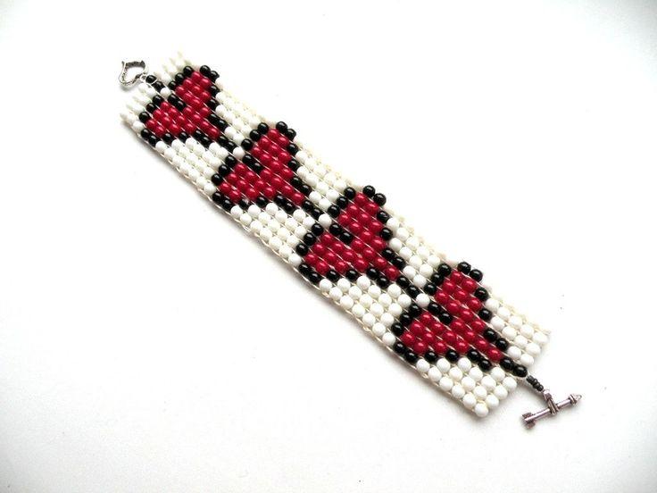 Walentynki  - bransoletka tkana na krośnie w Bajobongo na DaWanda.com