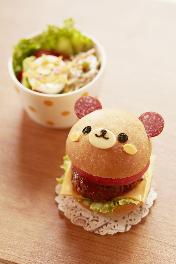 日本人のごはんお弁当 Japanese meals/Bento リラックマバーガー Bear Hamburger. I don't think I could eat this -- it's face is too cute.