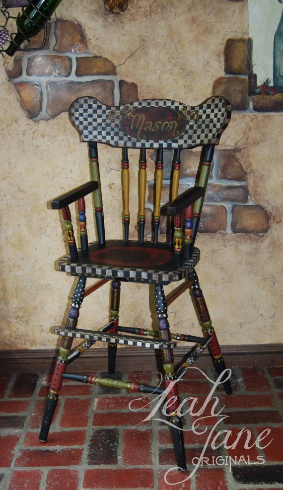 1000 Ideas About Painted High Chairs On Pinterest Hand