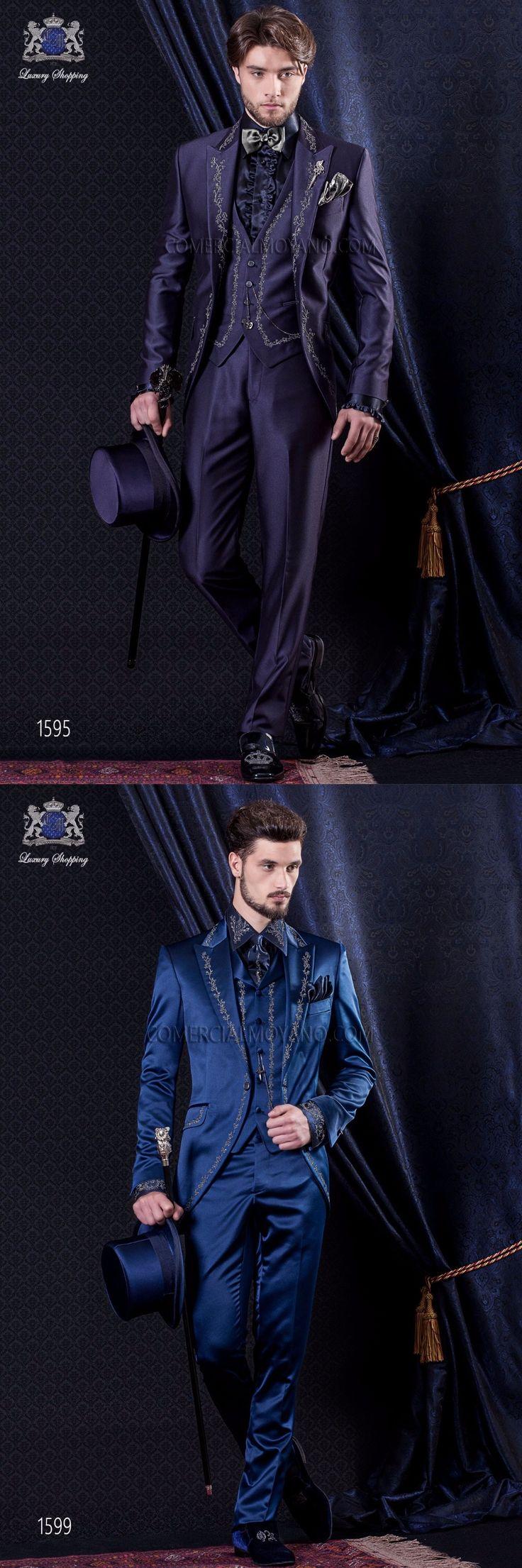 2017 Latest Coat Pant Designs ItalianPurple Blue Satin Embroidery Men Suit Slim Fit 3 Piece Tuxedo Custom Prom Blazer Masculino