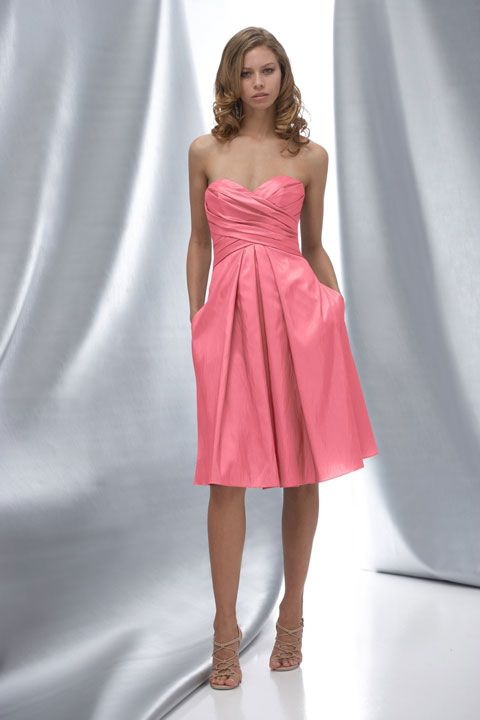 Fancy A-line dropped waist taffeta dress for bridesmaid