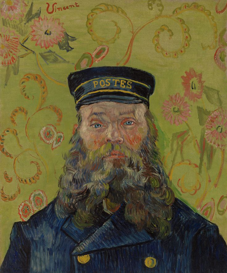 "the-barnes-art-collection: "" The Postman (Joseph-Étienne Roulin) by Vincent van Gogh, Barnes Foundation Medium: Oil on canvas Barnes Foundation (Philadelphia), Collection Gallery, Room 02, North Wall\n For most of 1888, Vincent van Gogh rented a room..."
