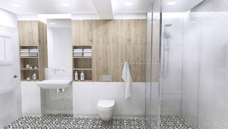 bright, white and wooden bathroom design, Gdansk, Poland