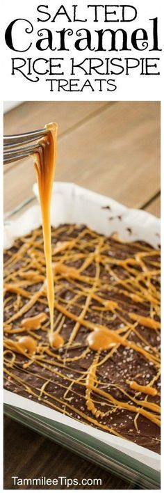 Delicious Salted Caramel Rice Krispie Treats recipe! This dessert recipe is not just for kids! How can you go wrong with salted caramels, marshamallow and rice krispies all combined in a delicious decadent dessert recipes! Perfect for Valentines Day or Super Bowl Football parties!