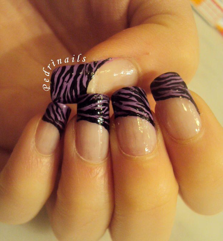 Purple zebra bordered diagonal french manicure https://instagram.com/p/pa4ITJpVe_/ #nails #nailart #bordered #diagonal #french #manicure #nailpolish #naillacquer #animalier #zebra #purple
