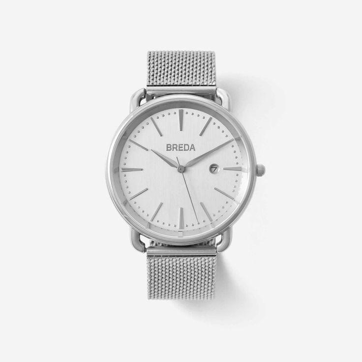 BREDA Men's 'Linx' 5016b Stainless Steel Mesh Bracelet Watch, 42MM