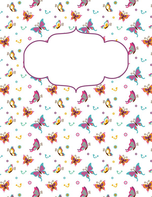 Free printable butterfly binder cover template. Download the cover in JPG or PDF format at http://bindercovers.net/download/butterfly-binder-cover/