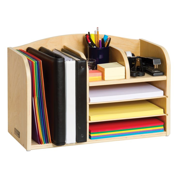 Oversized birch plywood Desk Organizer for all your work surface essentials. Book, binder and folder storage compartment on one side, with three letter-size paper trays beside it. Top center tray with