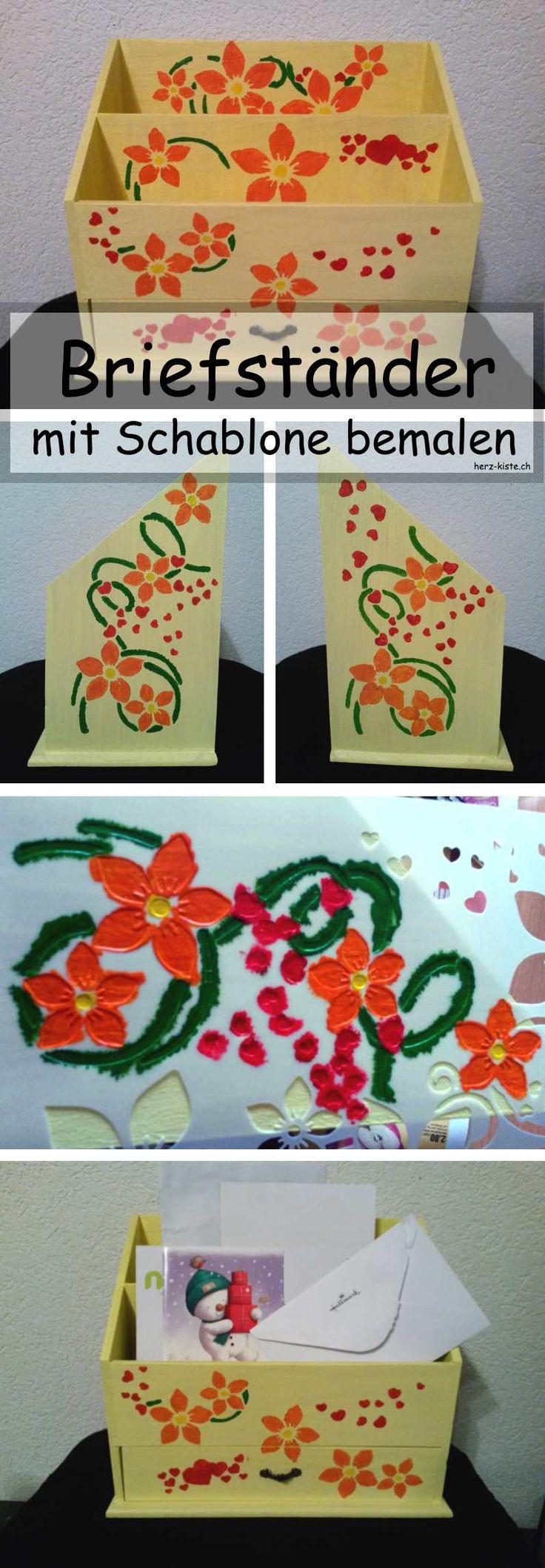 Briefständer selbermachen - mit Schablone bemalen. Ein einfaches aber wirkungsvolles DIY