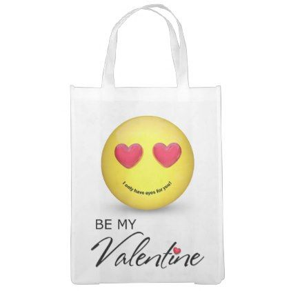 #Be My Valentine Emoji with Heart Eyes Reusable Bag - #emoji #emojis #smiley #smilies