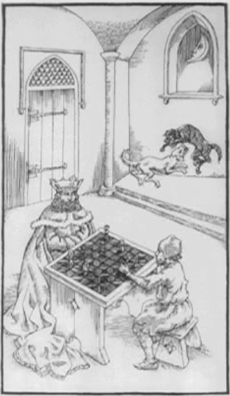 """Ⅶ. Seventh Gate """"The disciple outshines the master""""    A king and a begger play chess on a chess board  with white squares. The moon can be seen through  the window. Beneath this and next to a closed  door, two dogs are fighting."""
