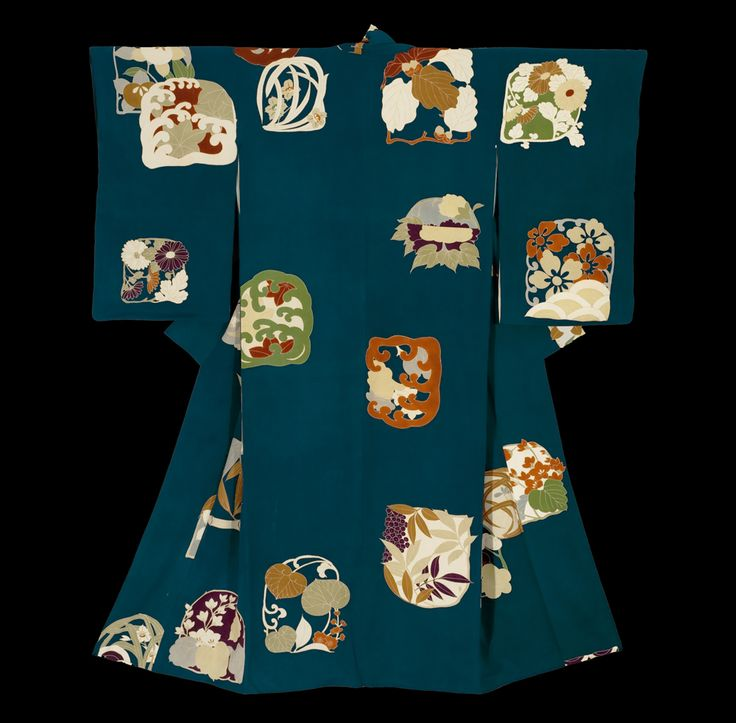 Yuzen-dyed Kimono. Taisho period (1911-1927), Japan. A chirimen (crepe) silk kimono with unusual motifs - large 'picture's of flowers, waves, etc spaced in the garment, all completely yuzen-dyed (resist painting).